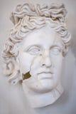Beeldhouwwerk van het gezicht van een mooie Griekse vrouw, in barsten Verticaal kader stock foto's