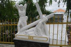 Beeldhouwwerk van het leven en de dood van Jesus Christ ` s Stock Afbeeldingen