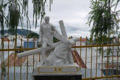 Beeldhouwwerk van het leven en de dood van Jesus Christ ` s Stock Foto