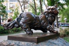 Beeldhouwwerk van kat Pantyusha in Kiev, de Oekraïne Stock Fotografie