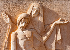 Beeldhouwwerk van Virgin en de Jesus-Christus Stock Afbeelding