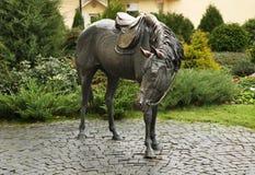 Beeldhouwwerk van paard in Baranovichi wit-rusland royalty-vrije stock afbeelding