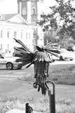 Beeldhouwwerk vogel-Spreker in Vologda Stock Foto's