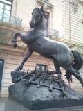 Beeldhouwwerk zwart paard stock afbeeldingen