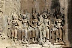Beeldhouwwerken in Angkor Wat Stock Foto's