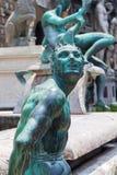 Beeldhouwwerken bij het Standbeeld van Neptunus in Florence stock fotografie
