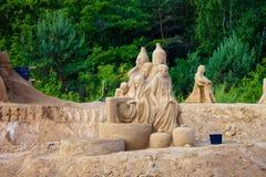 Beeldhouwwerken die van zand worden gemaakt Royalty-vrije Stock Foto