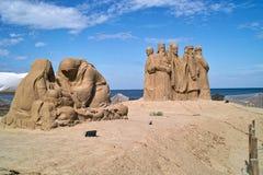 Beeldhouwwerken die van zand worden gemaakt. Royalty-vrije Stock Foto's