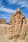 Beeldhouwwerken die van zand worden gemaakt. Stock Afbeelding