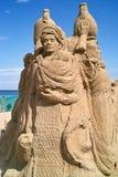Beeldhouwwerken die van zand worden gemaakt. Stock Afbeeldingen