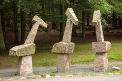 Beeldhouwwerken in het Keillers-Park, Gothenburg 'Drie vereerden per Agelii stock foto