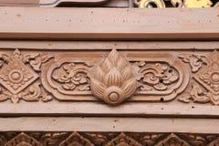 Beeldhouwwerken, houtsnijwerken, oud Mooi land van Thailand Stock Fotografie