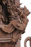 Beeldhouwwerken, houtsnijwerken, oud Mooi land van Thailand Stock Foto's