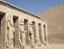 Beeldhouwwerken in Medinet Habu, Luxor, Egypte Stock Foto