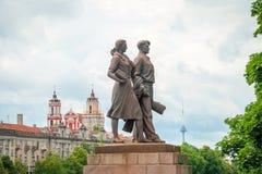 Beeldhouwwerken op Groene brug, Vilnius Royalty-vrije Stock Foto's