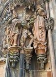 Beeldhouwwerken op Kathedraal van Notre-Dame, Straatsburg Royalty-vrije Stock Foto