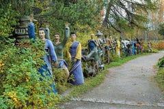 Beeldhouwwerken in Parikkala-beeldhouwwerkpark, Finland Stock Foto's