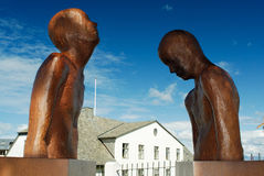 Beeldhouwwerken in Reykjavik, IJsland stock afbeelding