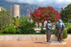 Beeldhouwwerken van Adam en Vooravond in Monte Carlo, Monaco. stock afbeeldingen