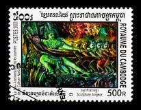 Beeldhouwwerken van Angkor, Khmer Cultuur serie, circa 2001 Stock Fotografie