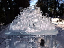 Beeldhouwwerken van ijs - Hoge Tatras worden gemaakt - Slowakije dat Royalty-vrije Stock Foto's
