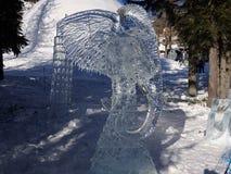 Beeldhouwwerken van ijs - Hoge Tatras worden gemaakt - Slowakije dat Stock Foto