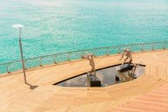 Beeldhouwwerken van Jazz Players op Sentosa-Promenade Royalty-vrije Stock Foto