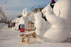 Beeldhouwwerken van sneeuw Royalty-vrije Stock Afbeeldingen
