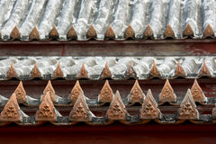 Beeldhouwwerkpatroon op het dak Royalty-vrije Stock Afbeelding