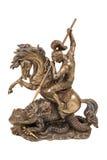 Beeldje een strijder die op horseback de draak bestrijden Stock Fotografie