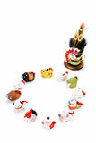 Beeldjes van de dierenriem en van het Nieuwjaar pijnboom Royalty-vrije Stock Foto