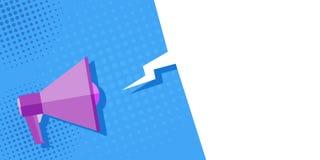 Beeldmegafoon op een blauwe achtergrond, pop-art, wijnoogst Mega-adverteert aanbieding, banner Wolk voor tekst, bericht royalty-vrije illustratie