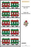 Beeldraadsel met rode en groene retro stuk speelgoed treinauto's Royalty-vrije Stock Foto's