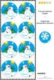 Beeldraadsel met sneeuwmannen Stock Afbeelding