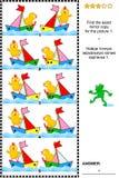 Beeldriddle met rijen van stuk speelgoed boten en kuikens royalty-vrije illustratie