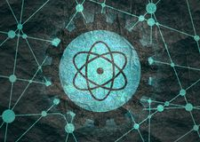 Beeldschriftteken van atoom royalty-vrije stock afbeeldingen
