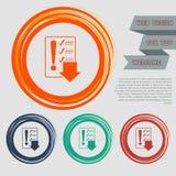 Beeldschriftteken van controlelijstpictogram op de rode, blauwe, groene, oranje knopen voor uw website en ontwerp met ruimtetekst Royalty-vrije Stock Afbeeldingen