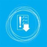 Beeldschriftteken van controlelijstpictogram op een blauwe achtergrond met abstracte cirkels rond en plaats voor uw tekst Stock Afbeelding