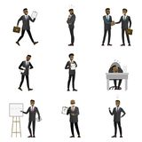 Beeldverhaal Afrikaanse Amerikaanse Zakenman Characters stock illustratie
