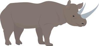 Beeldverhaal Afrikaanse rinoceros met grote hoornen, vector vector illustratie