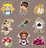 Beeldverhaal Alice in de stickers van het Sprookjesland Royalty-vrije Stock Foto's
