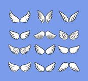 Beeldverhaal Angel Wings Set Hand getrokken die vleugels op wit, beeldverhaalvogels of pictogrammen van de engelen de vectorschet stock illustratie