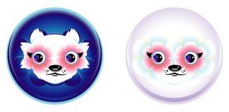 Beeldverhaal anime gezicht met grote bloem-ogen Grappige dierlijke wit-vio Royalty-vrije Stock Afbeeldingen
