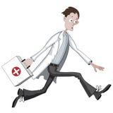 Beeldverhaal arts die haastig met geval lopen stock illustratie