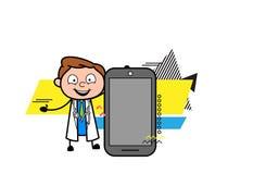 Beeldverhaal Arts Presenting een Smartphone-Vector stock illustratie