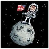 Beeldverhaal astronaout op de maan Stock Afbeeldingen
