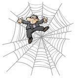 Beeldverhaal Bedrijfsmens in Spinneweb. Stock Afbeeldingen