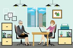Beeldverhaal bedrijfsvrouw en grootmoeder die in bureau spreken, stock illustratie