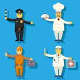 Beeldverhaal Belangrijkste Cook Worker Repairer Police Ambtenaar stock illustratie