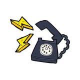 beeldverhaal bellende telefoon met gedachte bel Stock Afbeeldingen